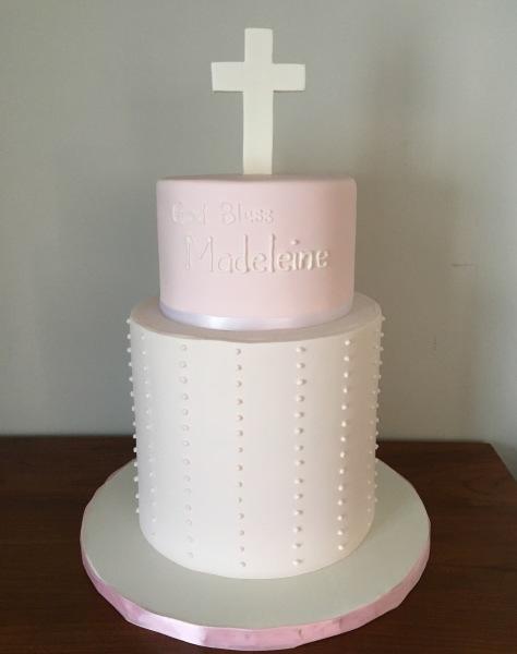 Pale Pink Baptism Cake