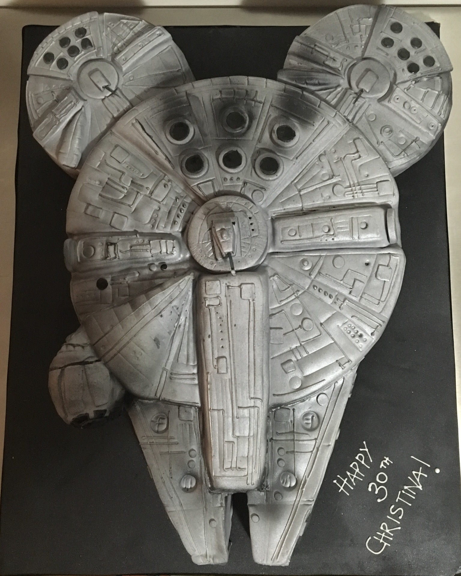 custom cake nj Millennium falcon cake star wars birthday cake