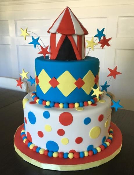 custom cake nj circus cake colorful birthday cake