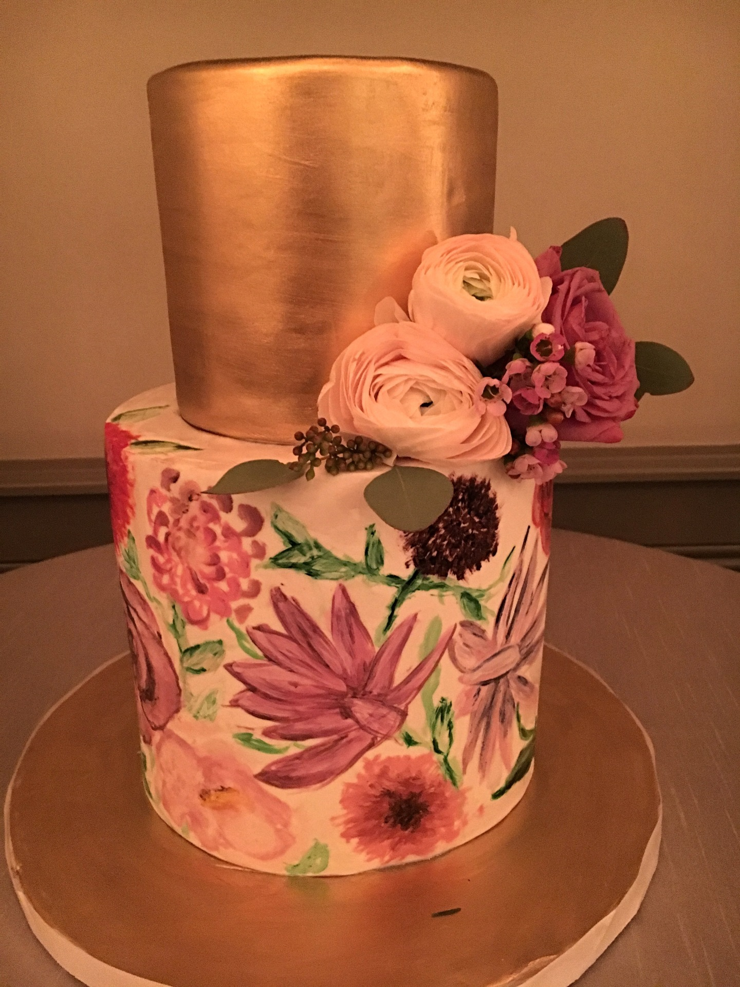 custom cakes nj gold and floral cake handpainted