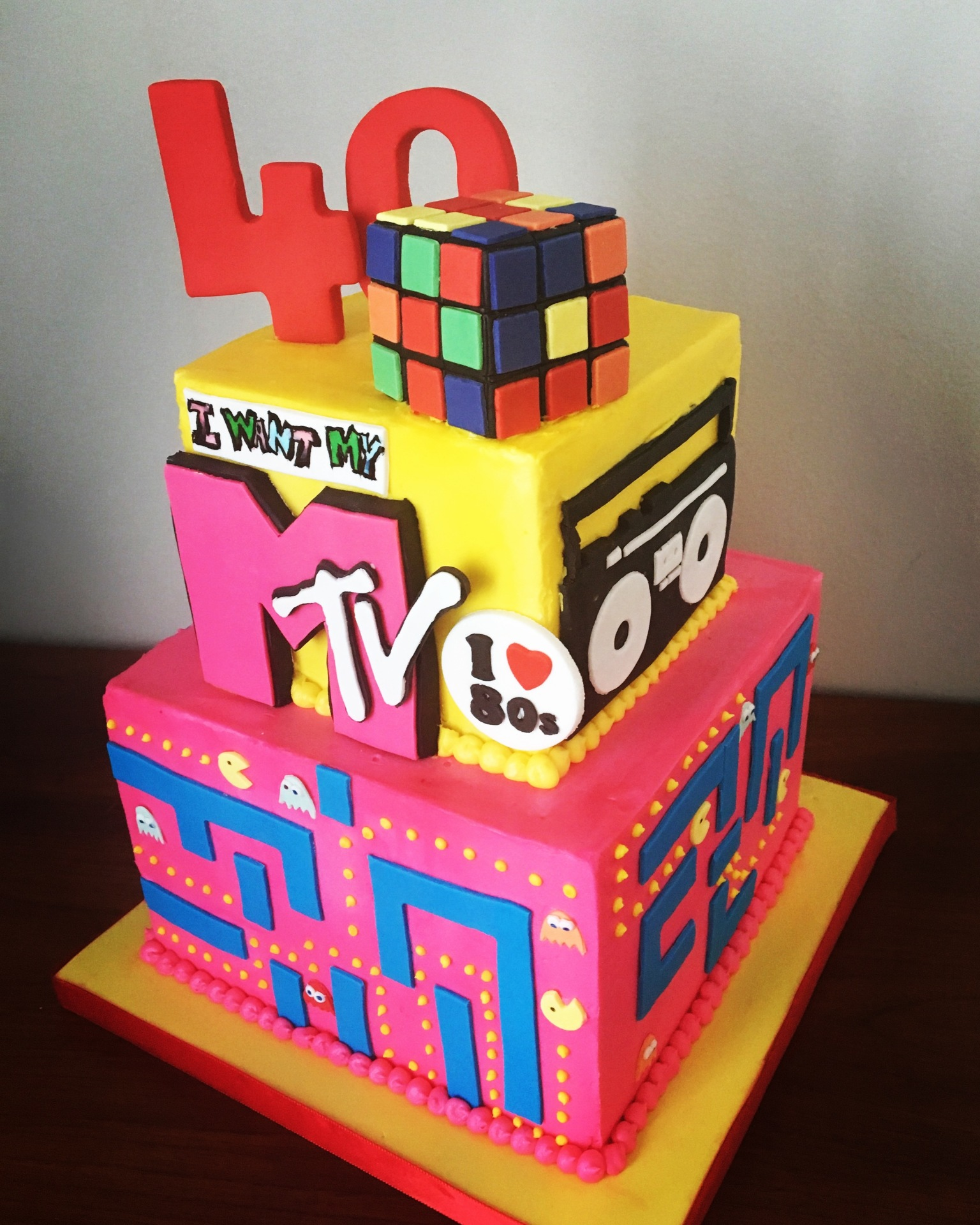 custom cakes nj 1980s themed cake 80s cake colorful MTV