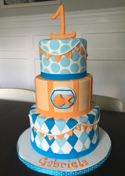 custom cakes nj swimming goldfish cake pool party
