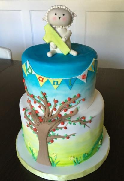 custom cake nj first birthday cake lamb cake meadow cake