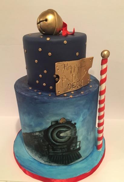 custom cake nj polar express cake hand painted cake holiday themed cake