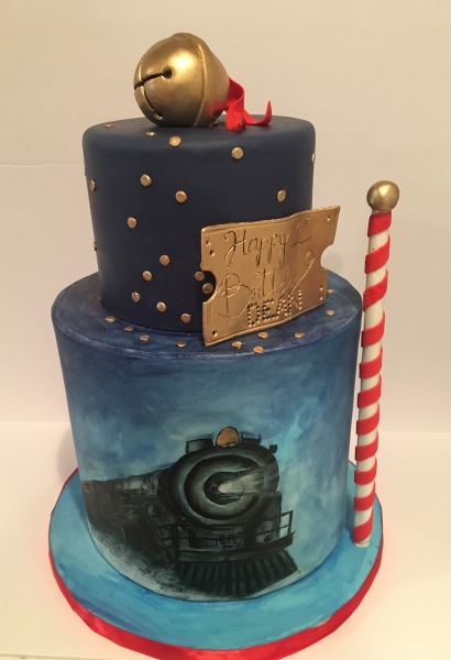 custom cake nj polar express cake hand painted cake holiday themed cake
