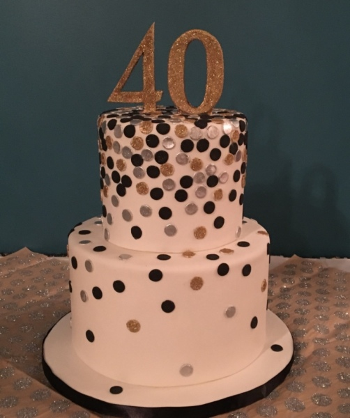 custom cakes nj fortieth birthday cake black white gold