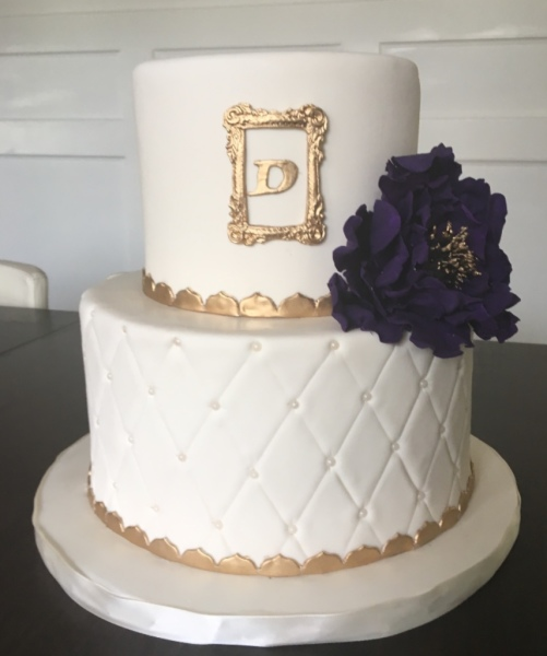 custom cakes nj ivory purple gold cake sugar flower