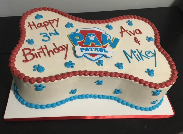 custom cakes nj  paw patrol bone shaped cake