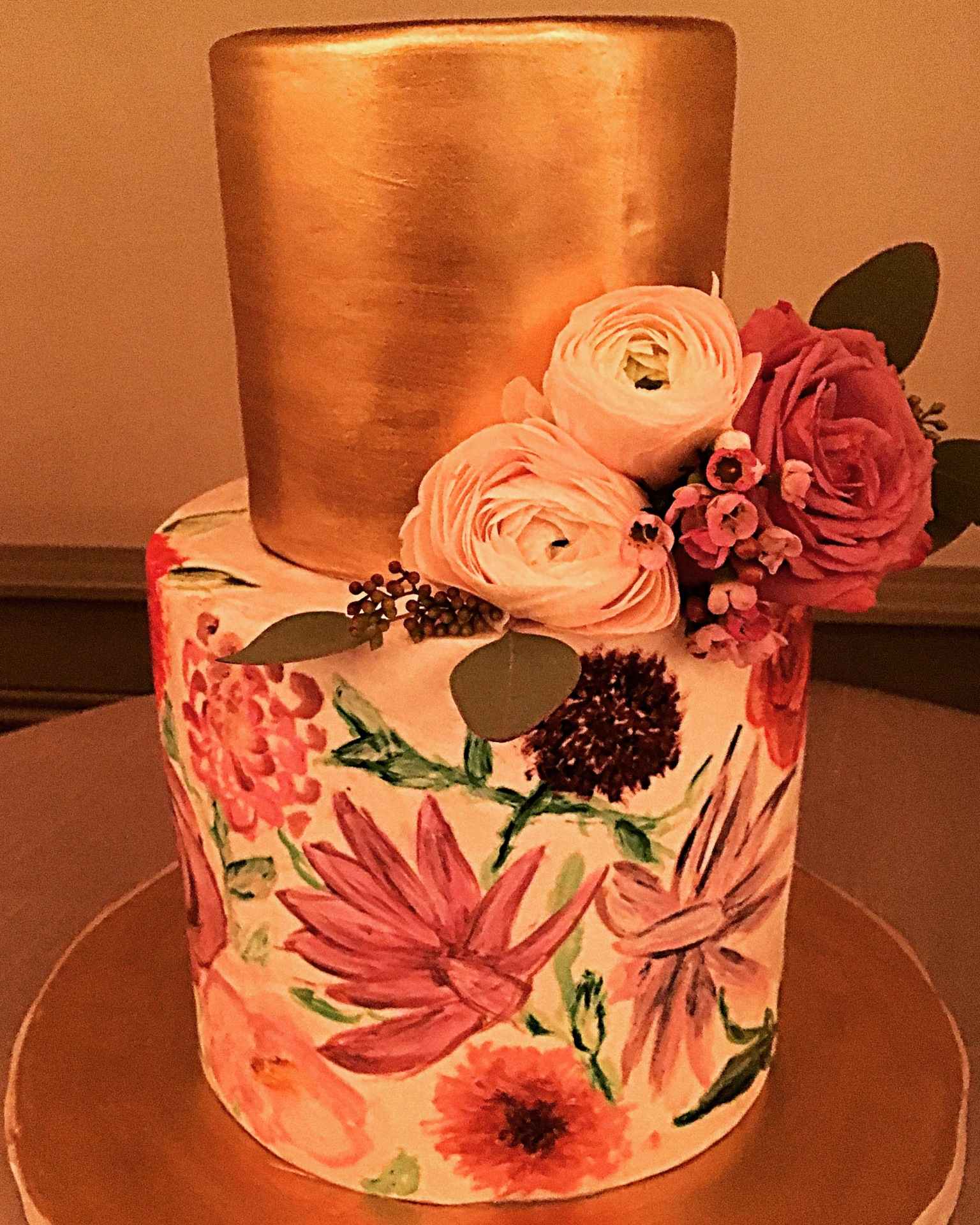 custom cakes nj hand painted floral cake gold