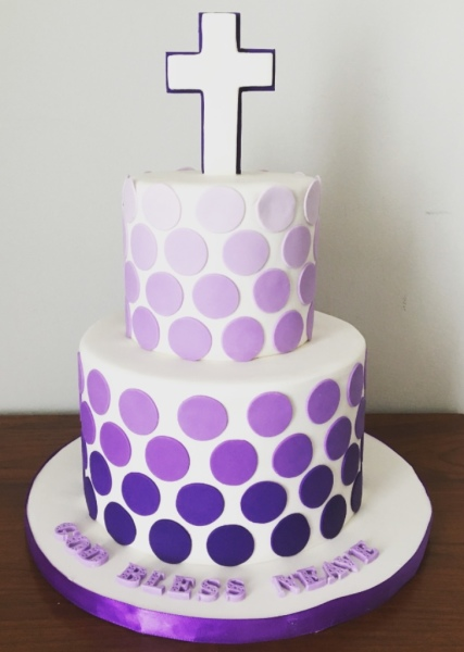 Purple Ombre Dot Communion Cake