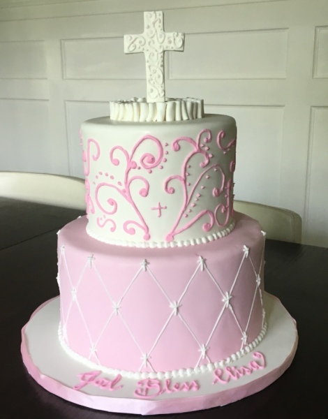 Pink and White Communion Cake