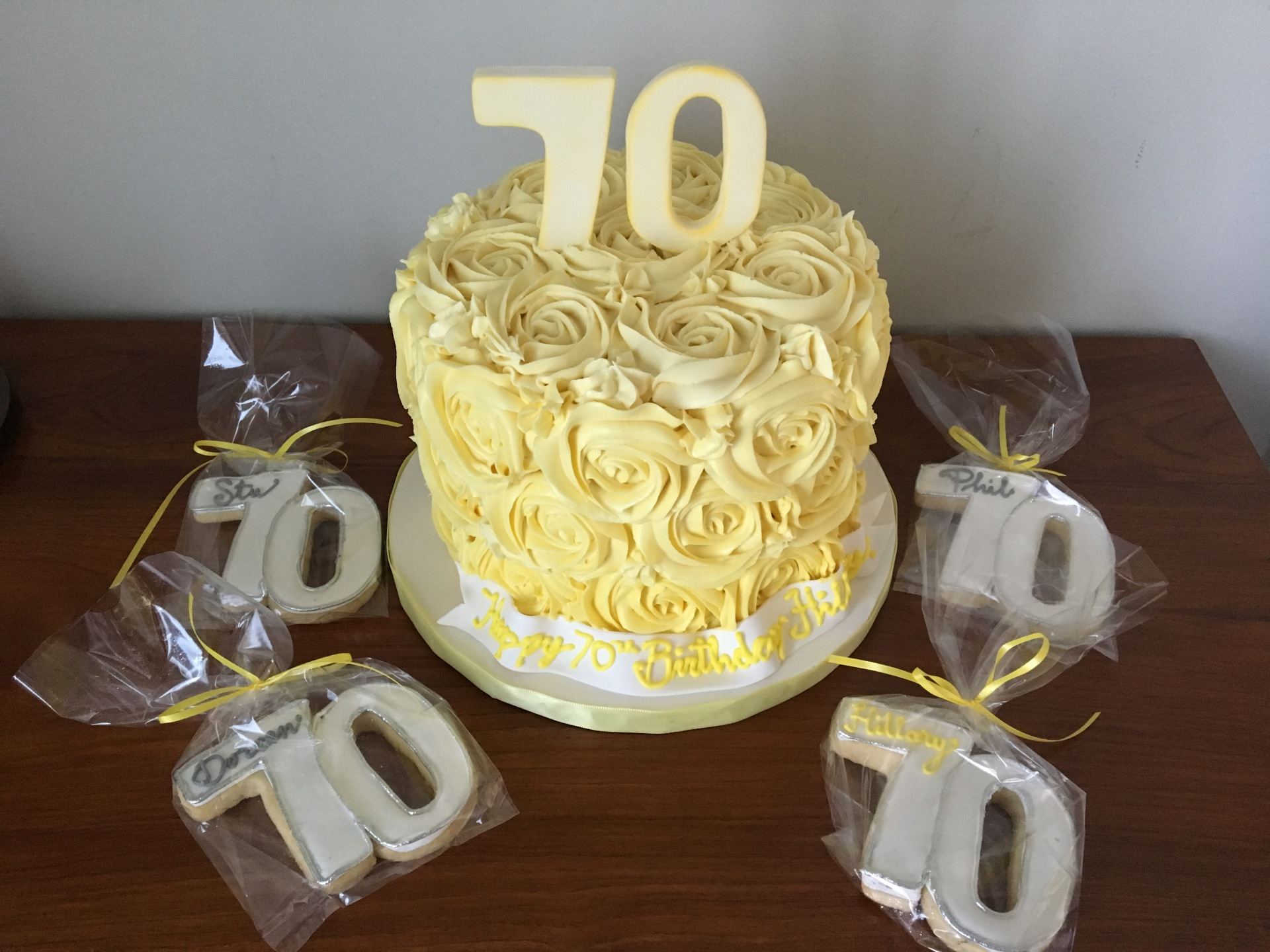custom cakes nj yellow rosette cake