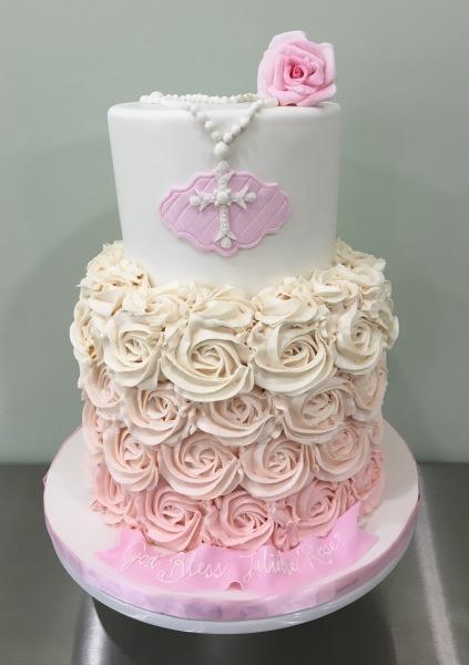 pink baptism cake rosette rosary