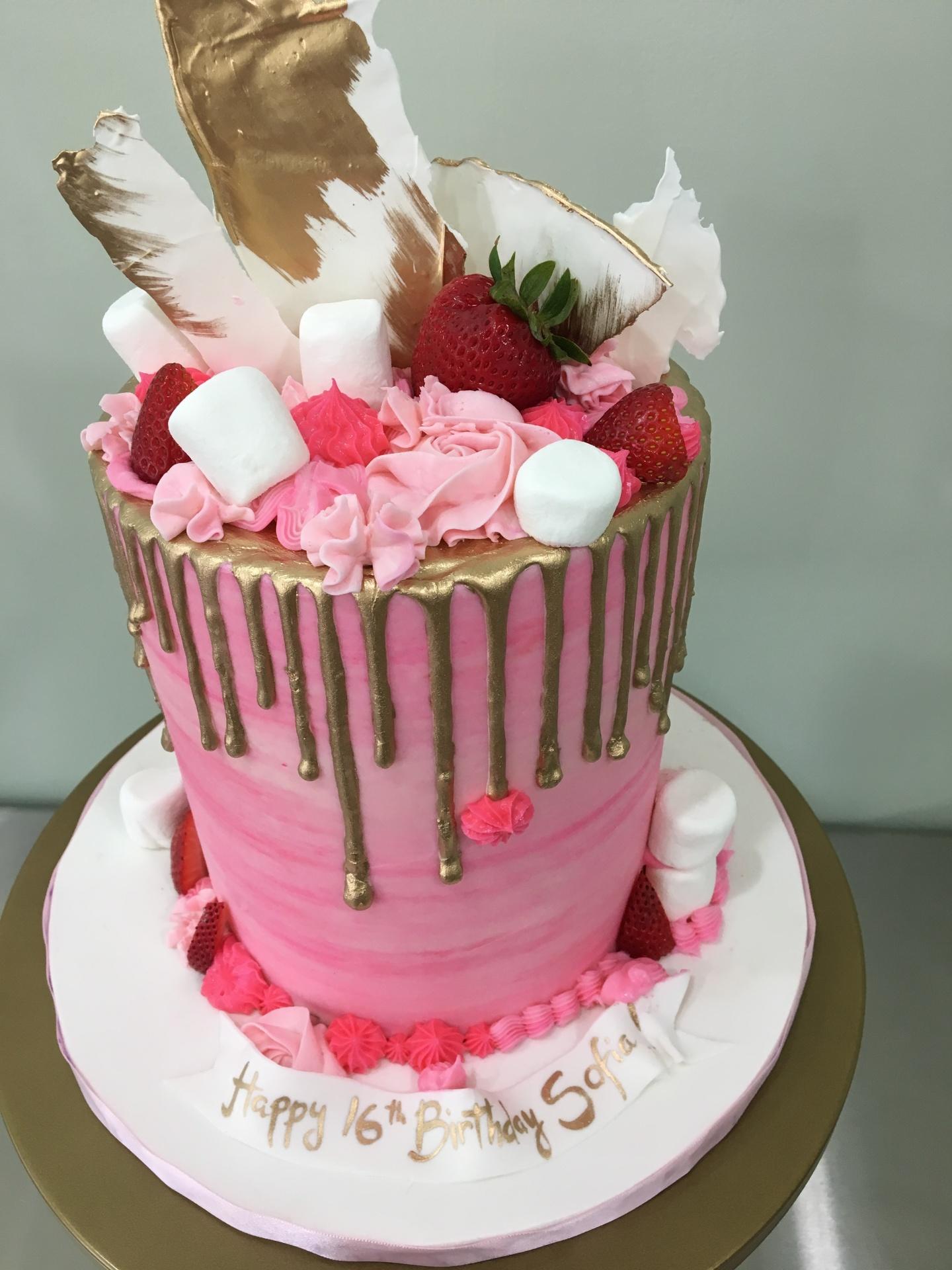 custom cakes nj pink gold drip cake