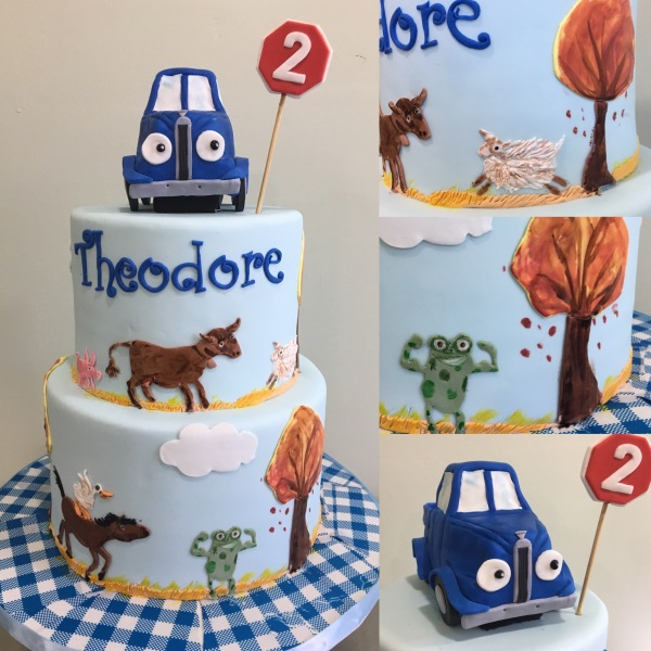 custom cake nj Little blue truck cake handprinted birthday cake