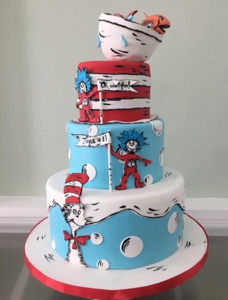 custom cake nj Dr Seuss Cake Cat in the Hat Cake first birthday
