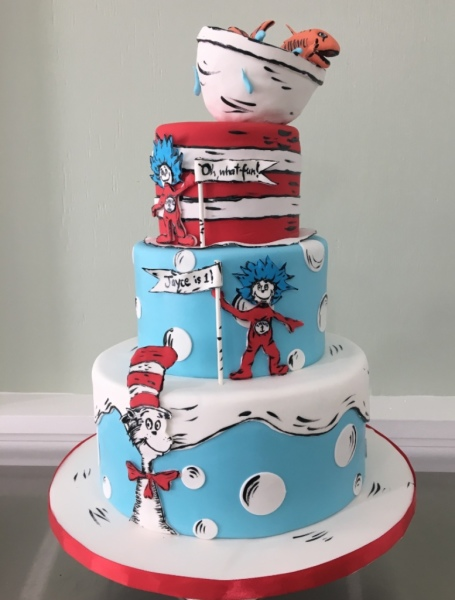 custom cake nj Dr Seuss Cake Cat in the Hat Cake first birthday