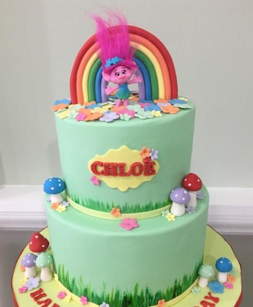 custom cakes nj trolls cake rainbow cake
