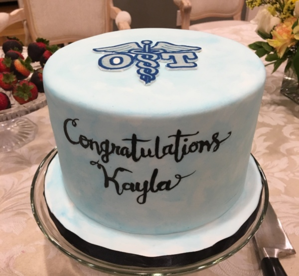 Watercolor Graduation cake with hand painting and OT Symbol