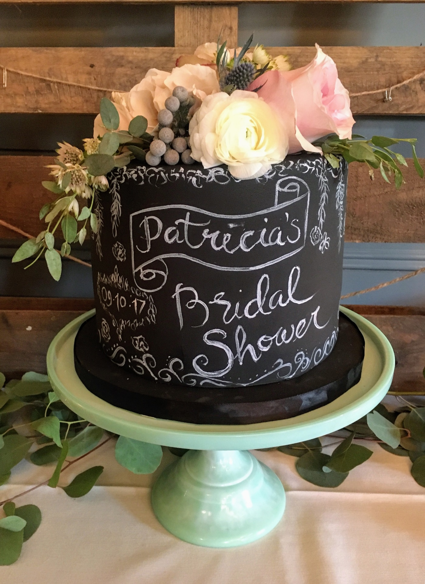 Chalkboard Rustic Bridal Shower Cake NJ NYC