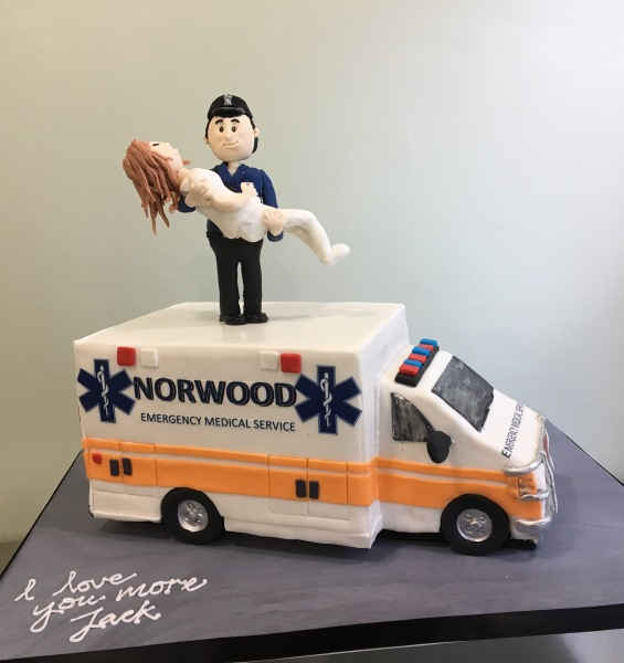 Custom cakes NJ Ambulance cake with Fondant Figurines