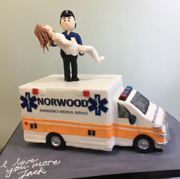 ambulance cake grooms cake fondant figurines