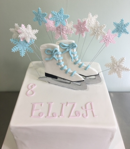 Ice skating cake winter snowflake NJ cakes