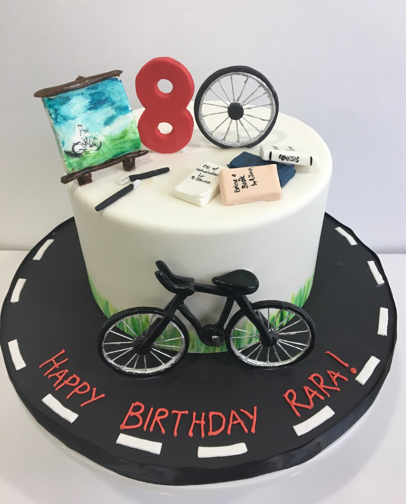 Custom Cakes New Jersey bicycle art easel cake
