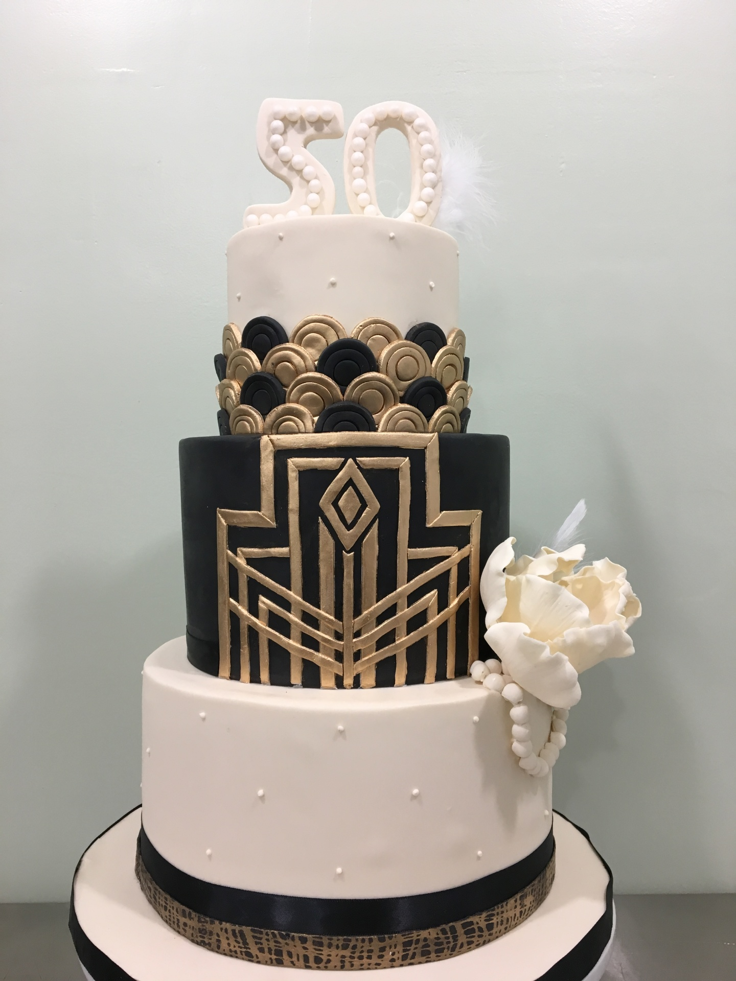 Custom Cakes New Jersey Gold, Ivory and black Art Deco Cake