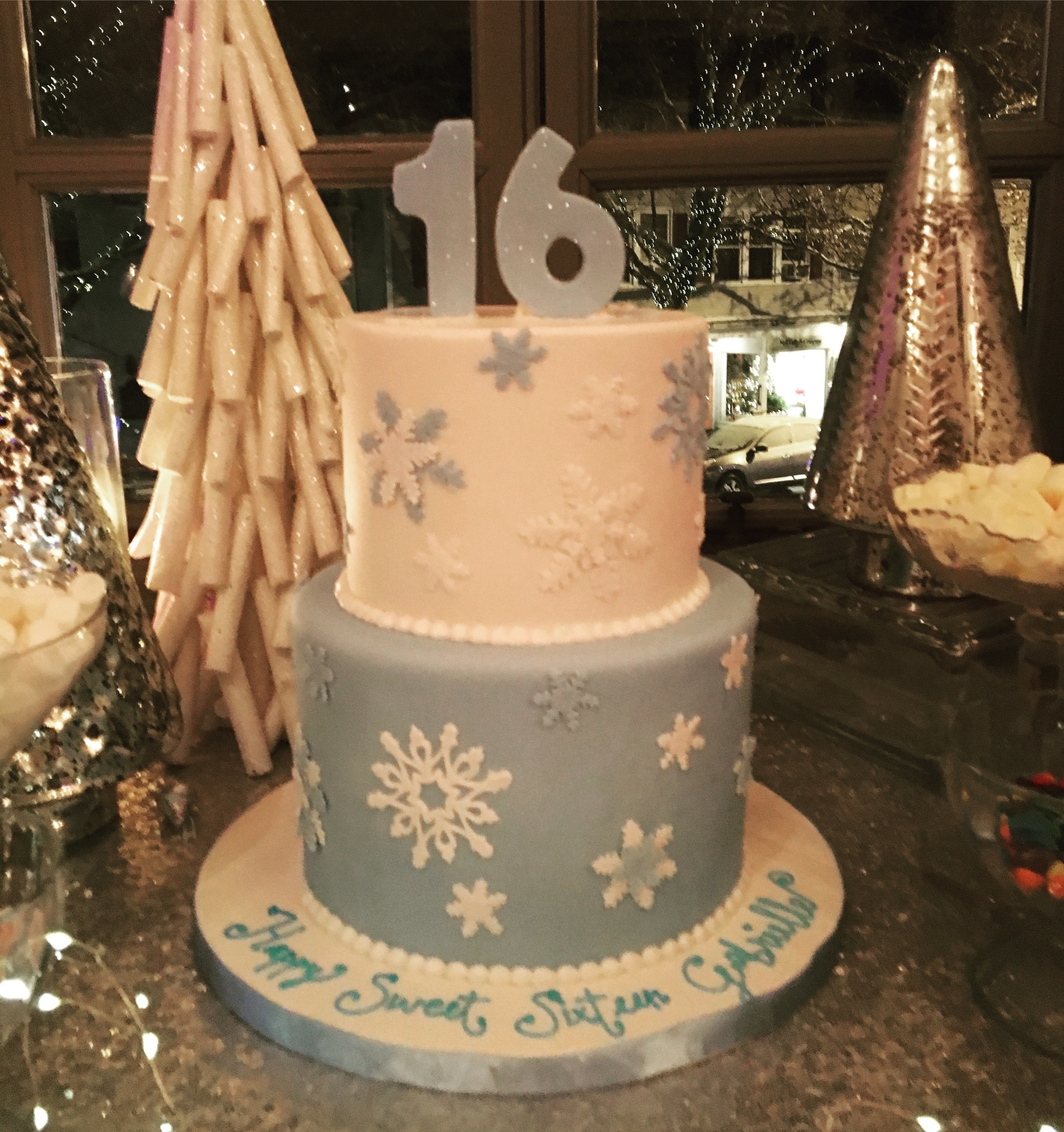 custom cake New jersey winter wonderland cake