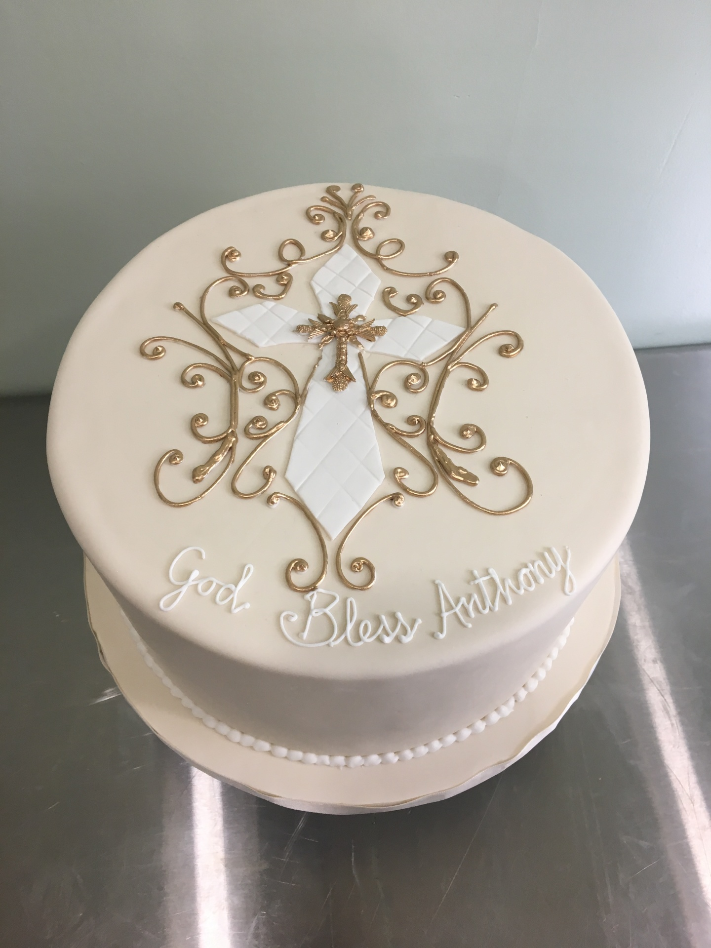 Confirmation Cake Ivory and Gold Cake NJ Cakes