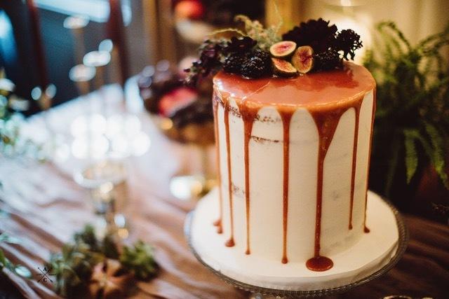 NJ Wedding Cake Semi Naked Cake Caramel Drip