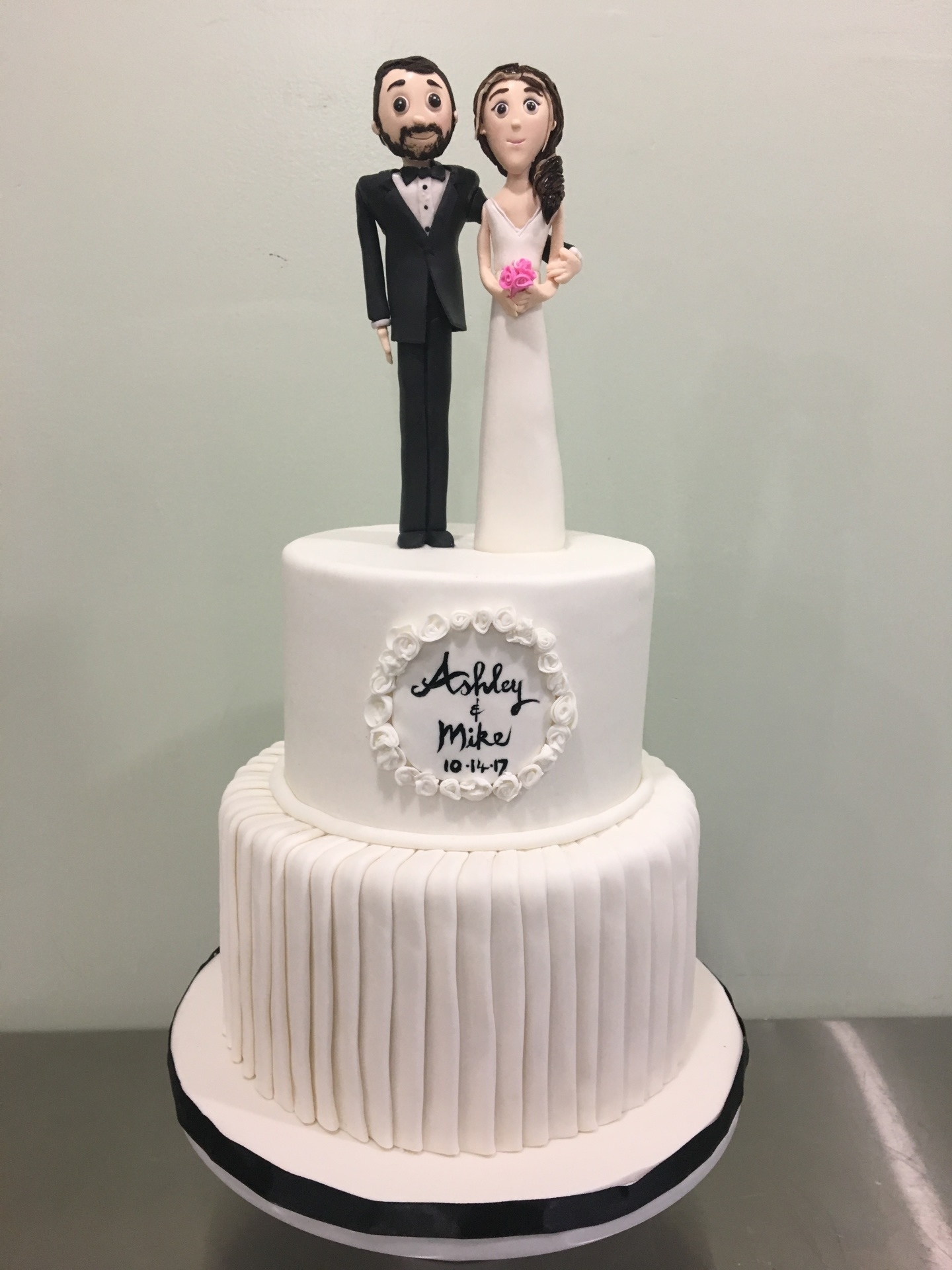 wedding Cake NJ fondant bride and groom figurines