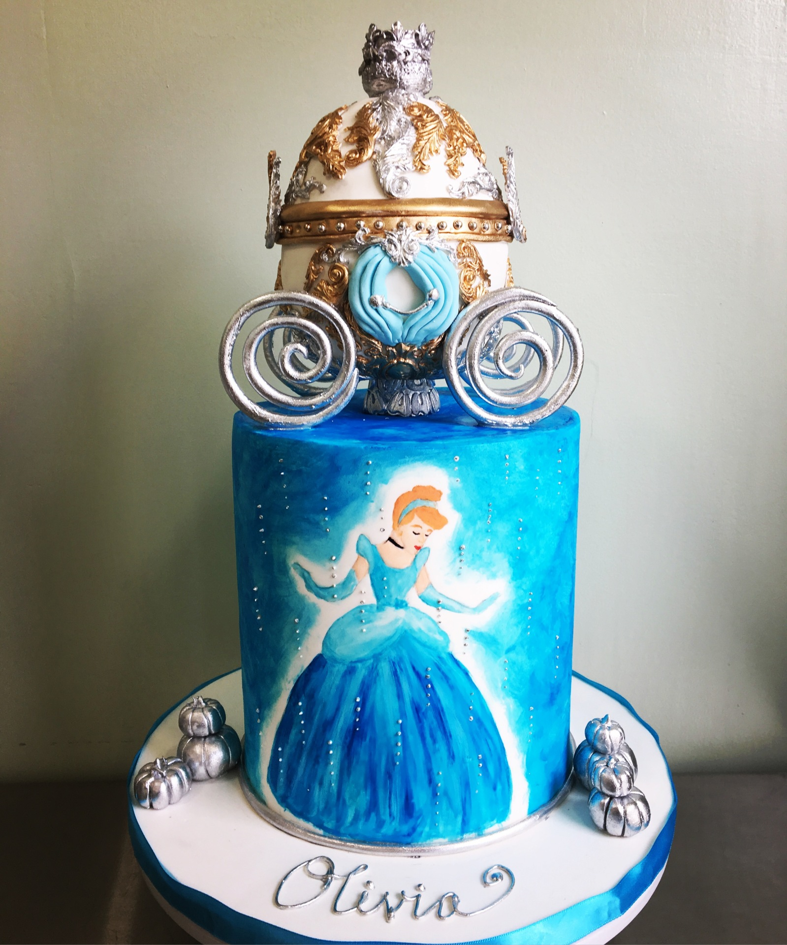 Custom Cakes NJ Hand Painted Cinderella Cake with Carriage