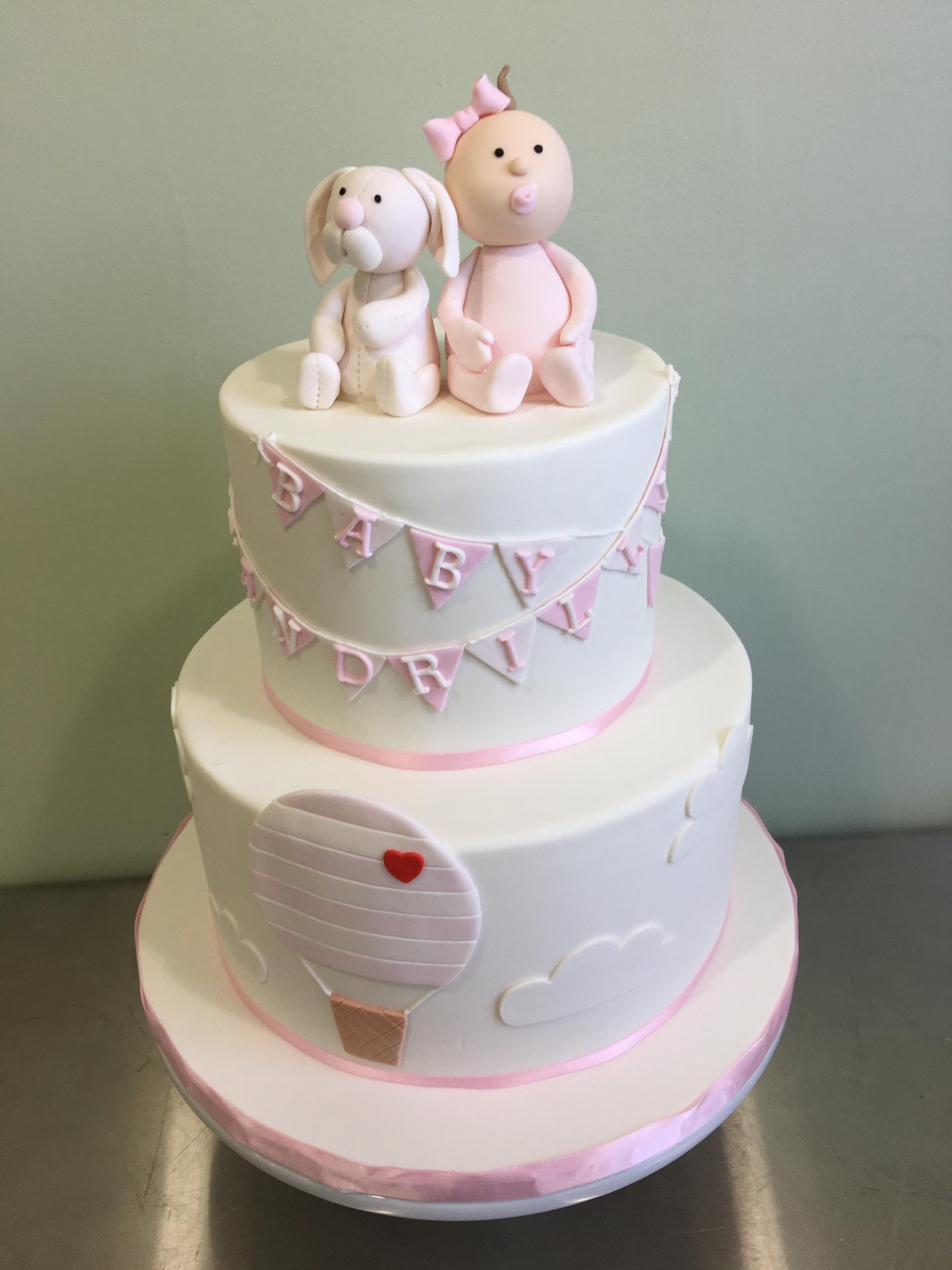 Baby Shower cake fondant bunny fondant baby girl