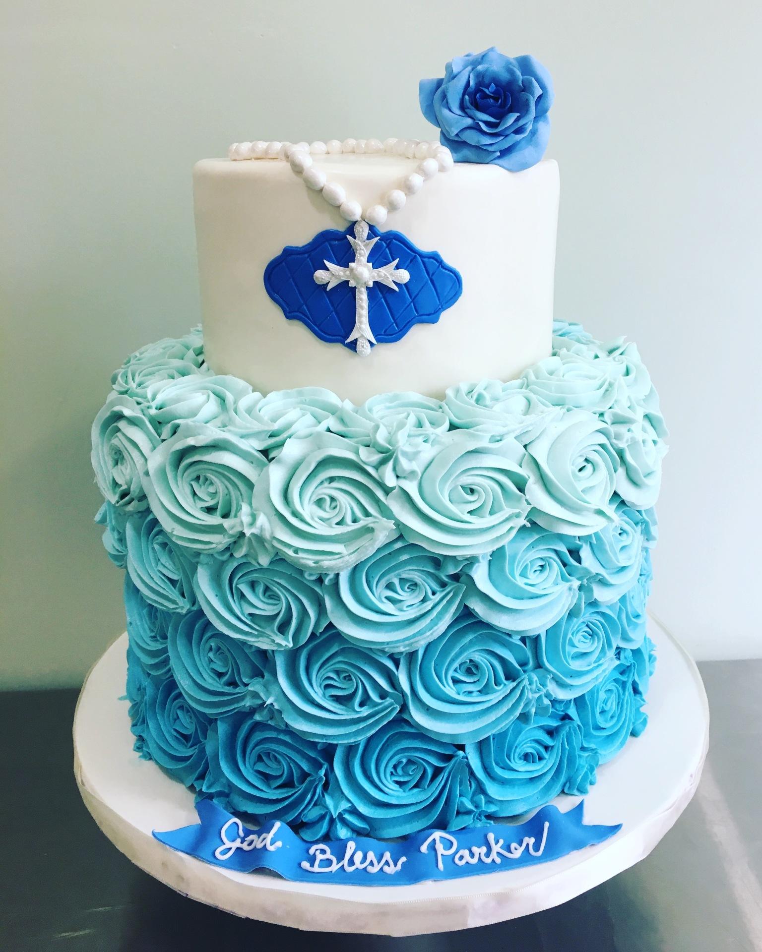 Custom Cakes NJ Blue Buttercream rosette cake with cross