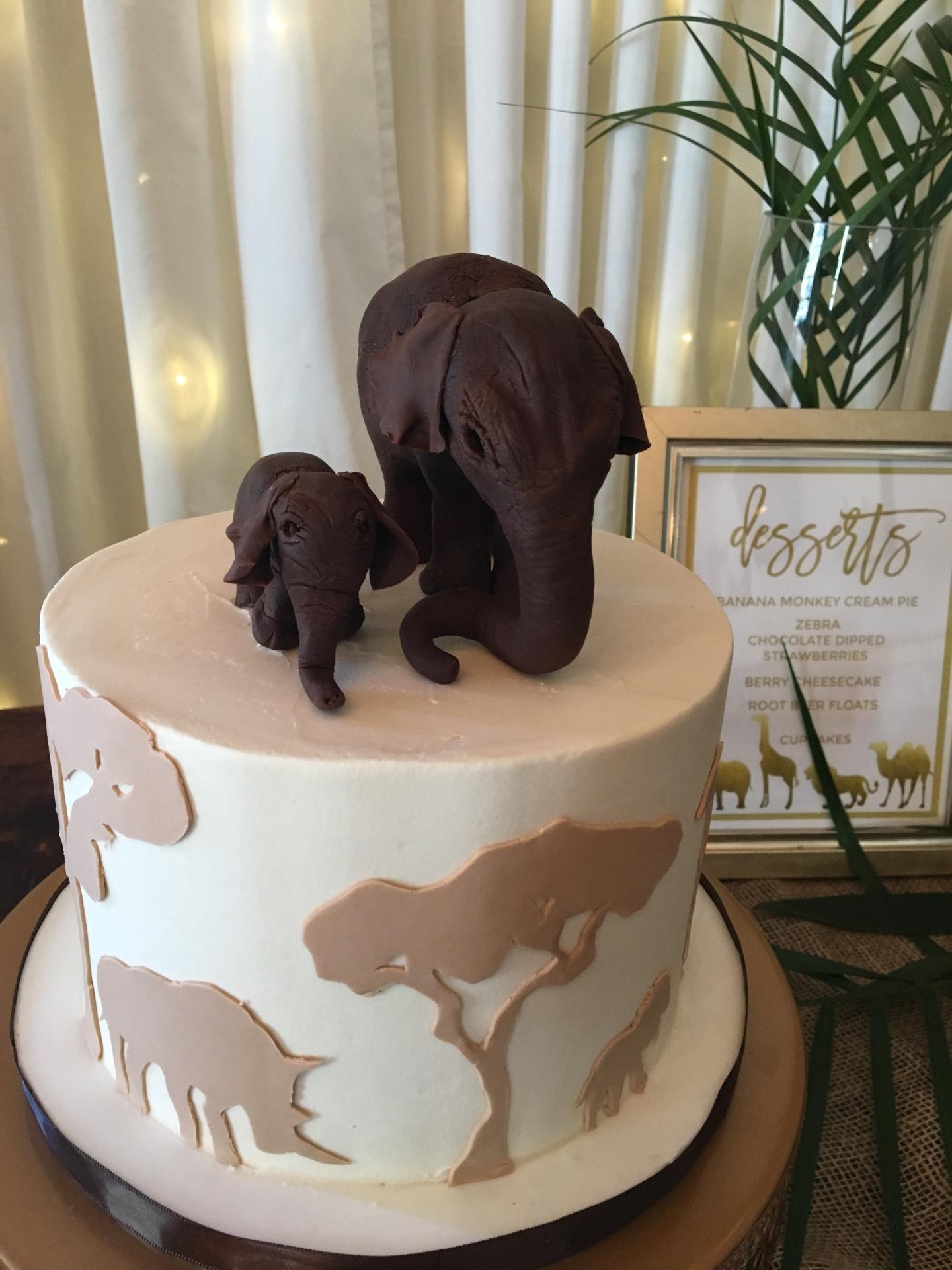 Custom Cakes NJ safari elephant themed baby shower cake