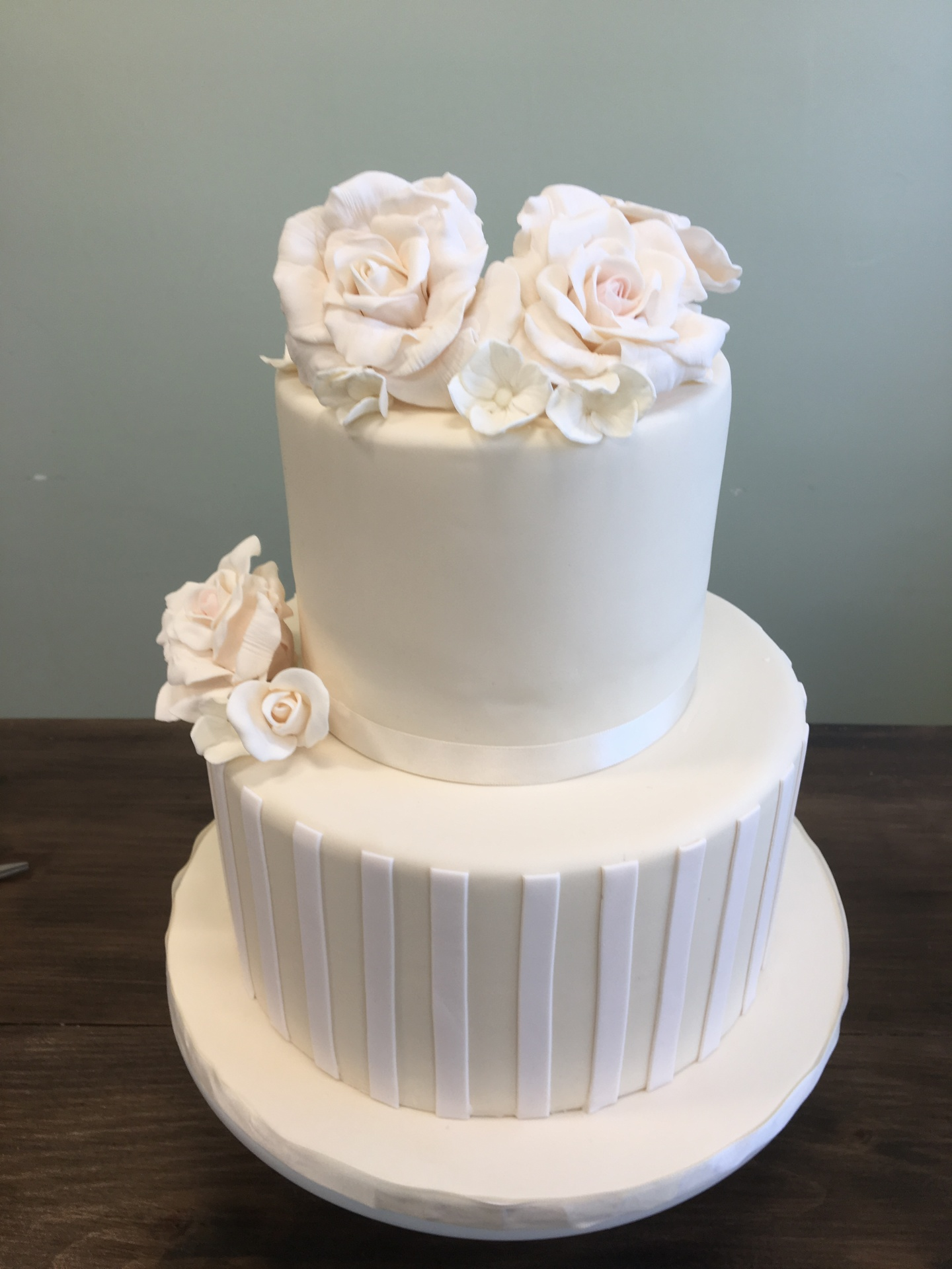 Ivory and Blush Pink Communion Cake with sugar flowers custom cakes NJ