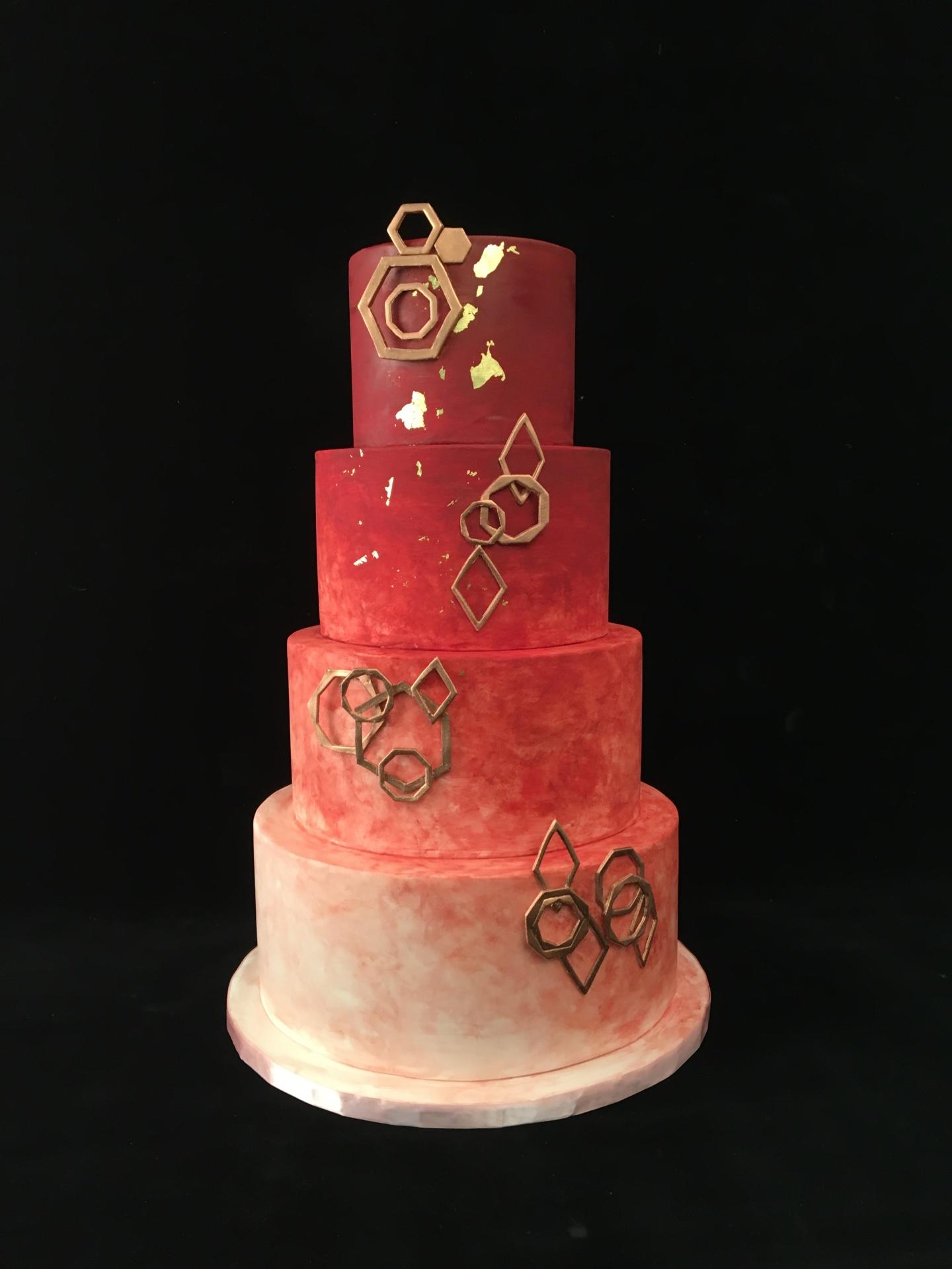 NJ Custom Cake Bronze prism cake watercolor cake