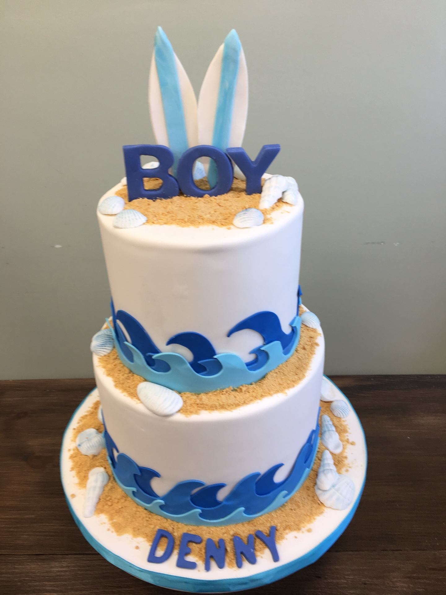 custom cakes NJ Blue and white nautical surf themed cake