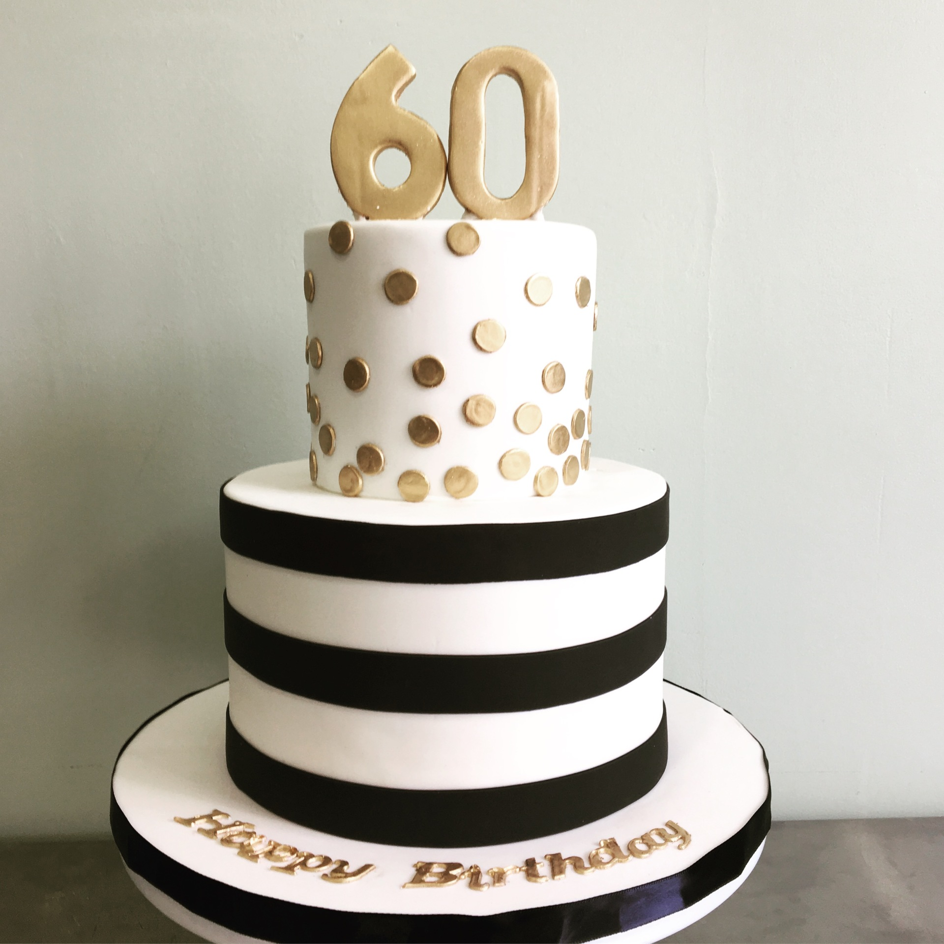Custom Cakes NJ Black, white and gold cake with 60 on top