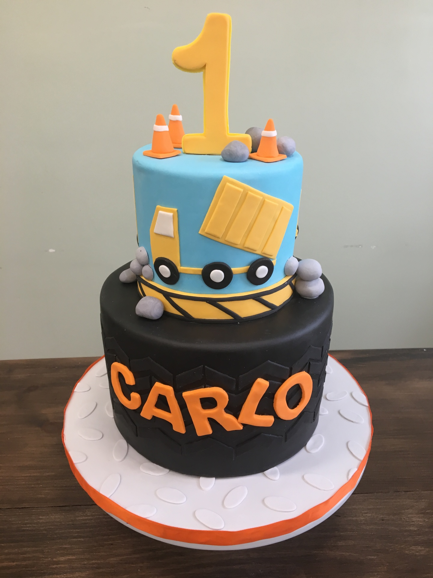 Custom Cakes NJ Construction Themed First Birthday Cake