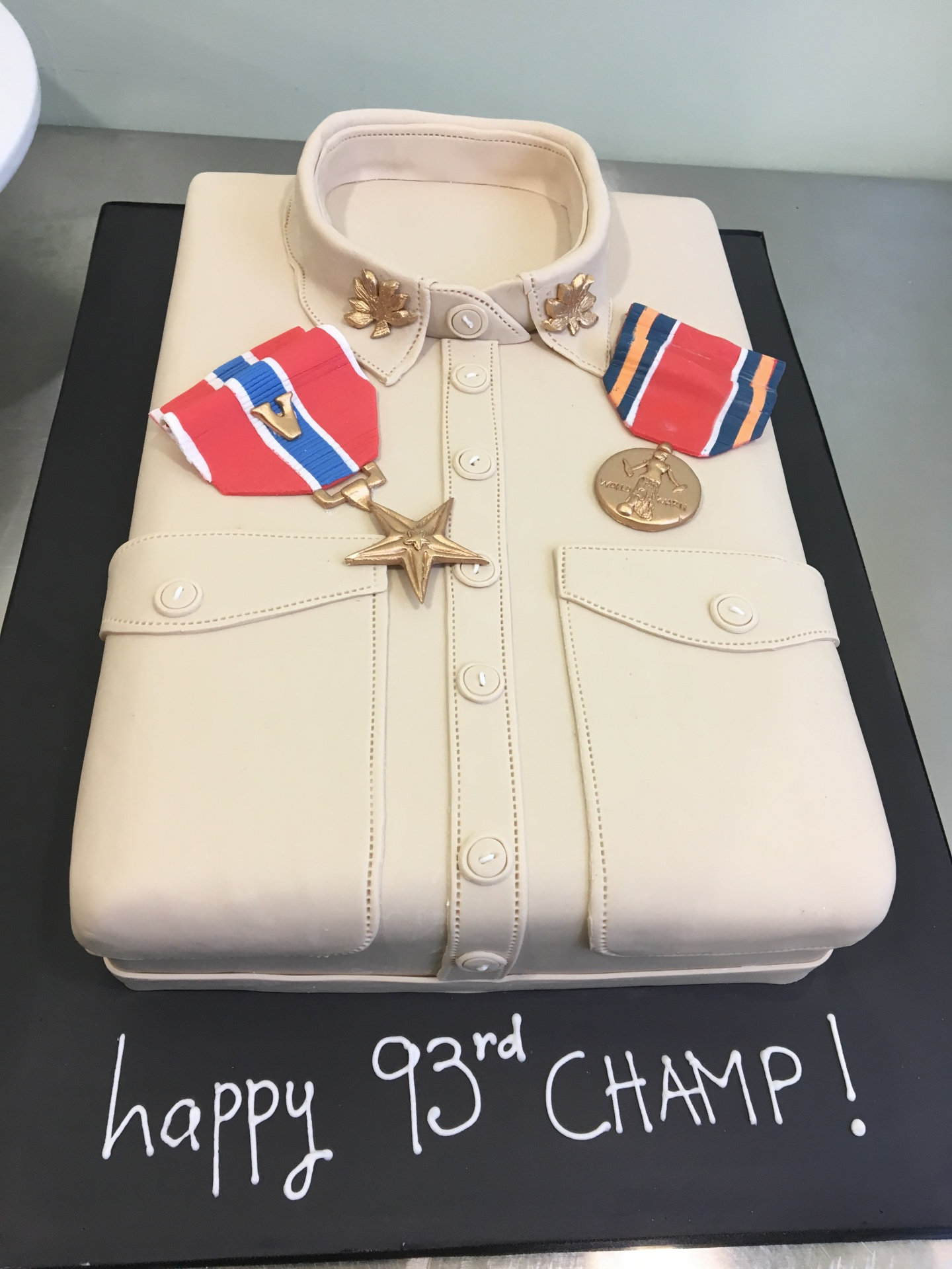 Custom Cakes NJ Army Shirt Cake with Fondant Medals