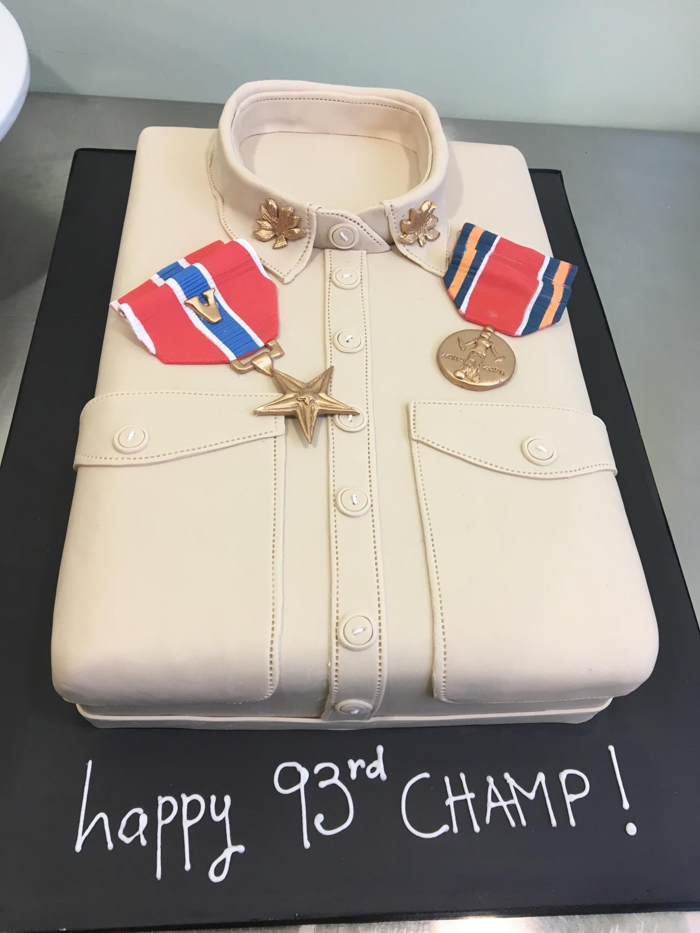 Custom Cakes NJ Army Shirt Cake with Fondant Medals