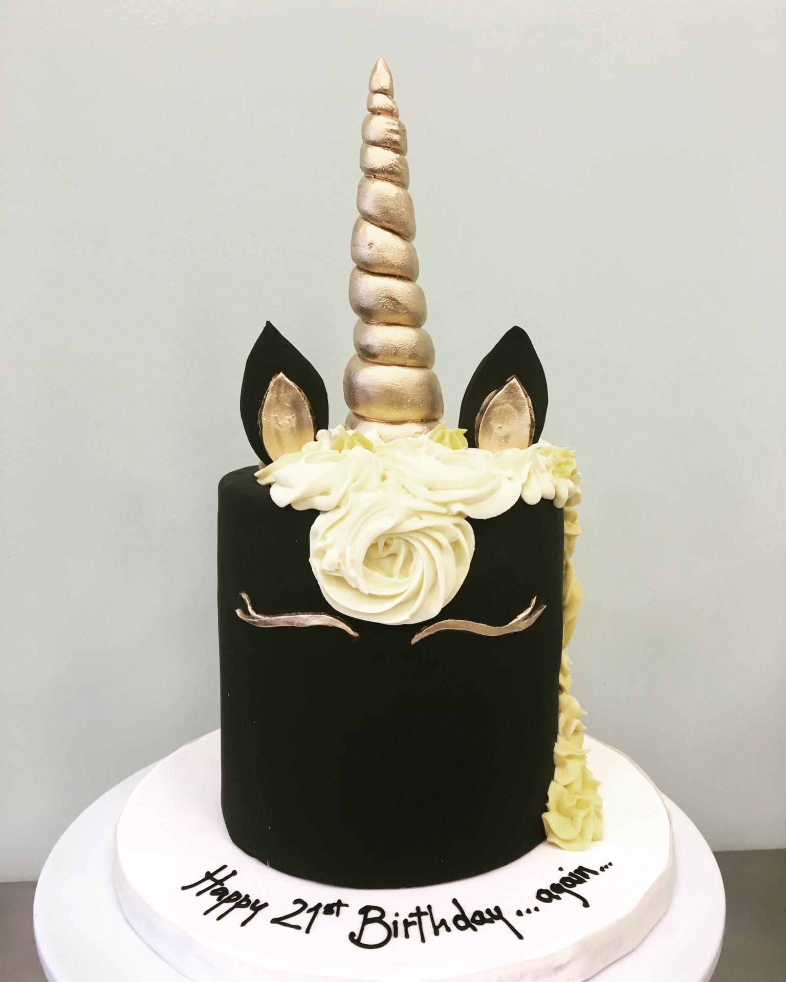 Custom cakes NJ Black and Gold Unicorn Adult cake
