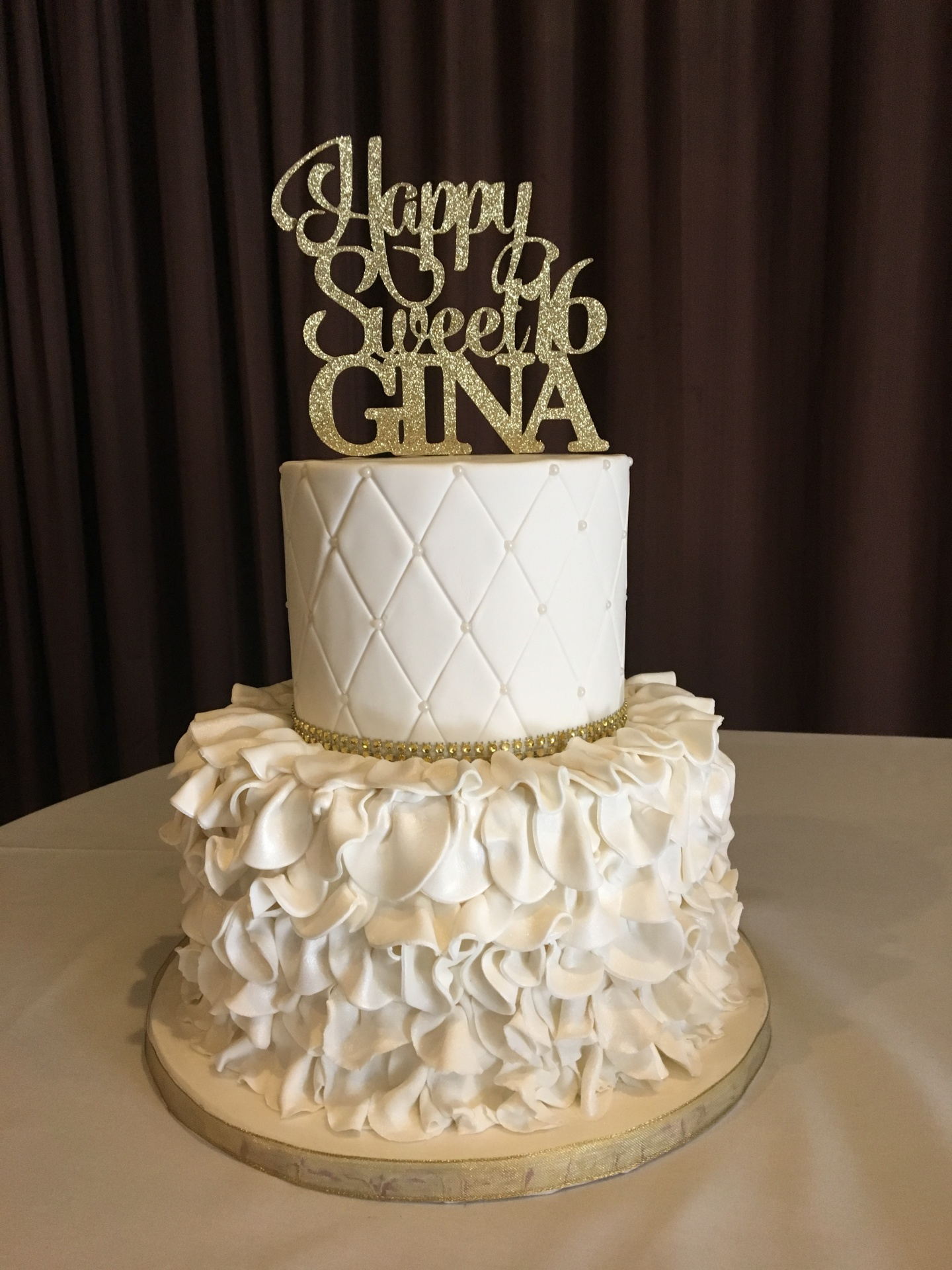 Custom Cakes NJ Sweet 16 Cake with Ruffles and gold and White