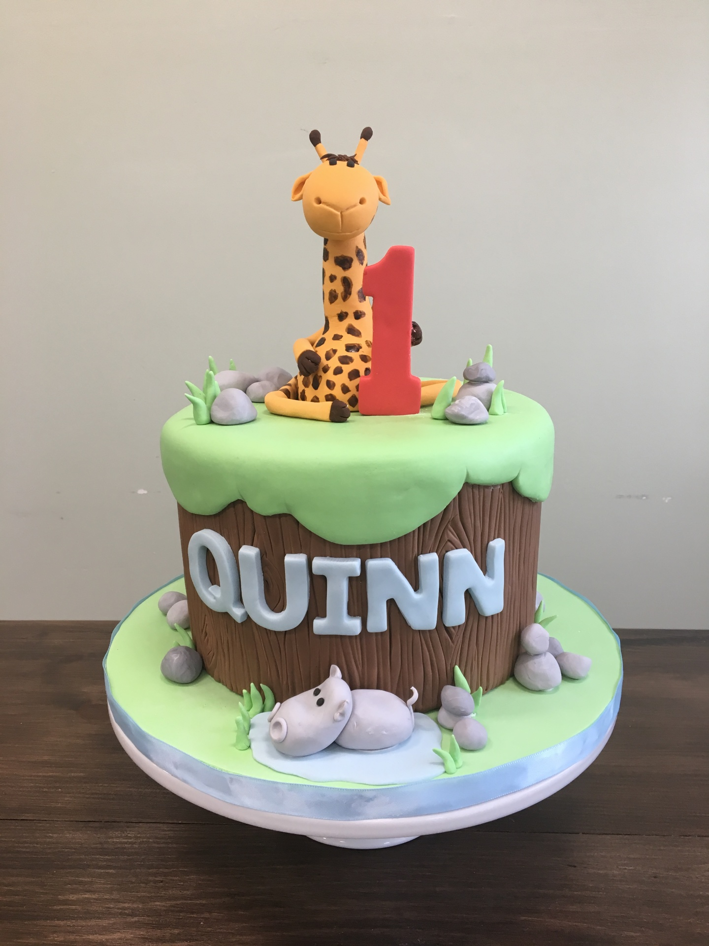 Custom Cakes NJ Safari Themed First Birthday Cake with Fondant Giraffe