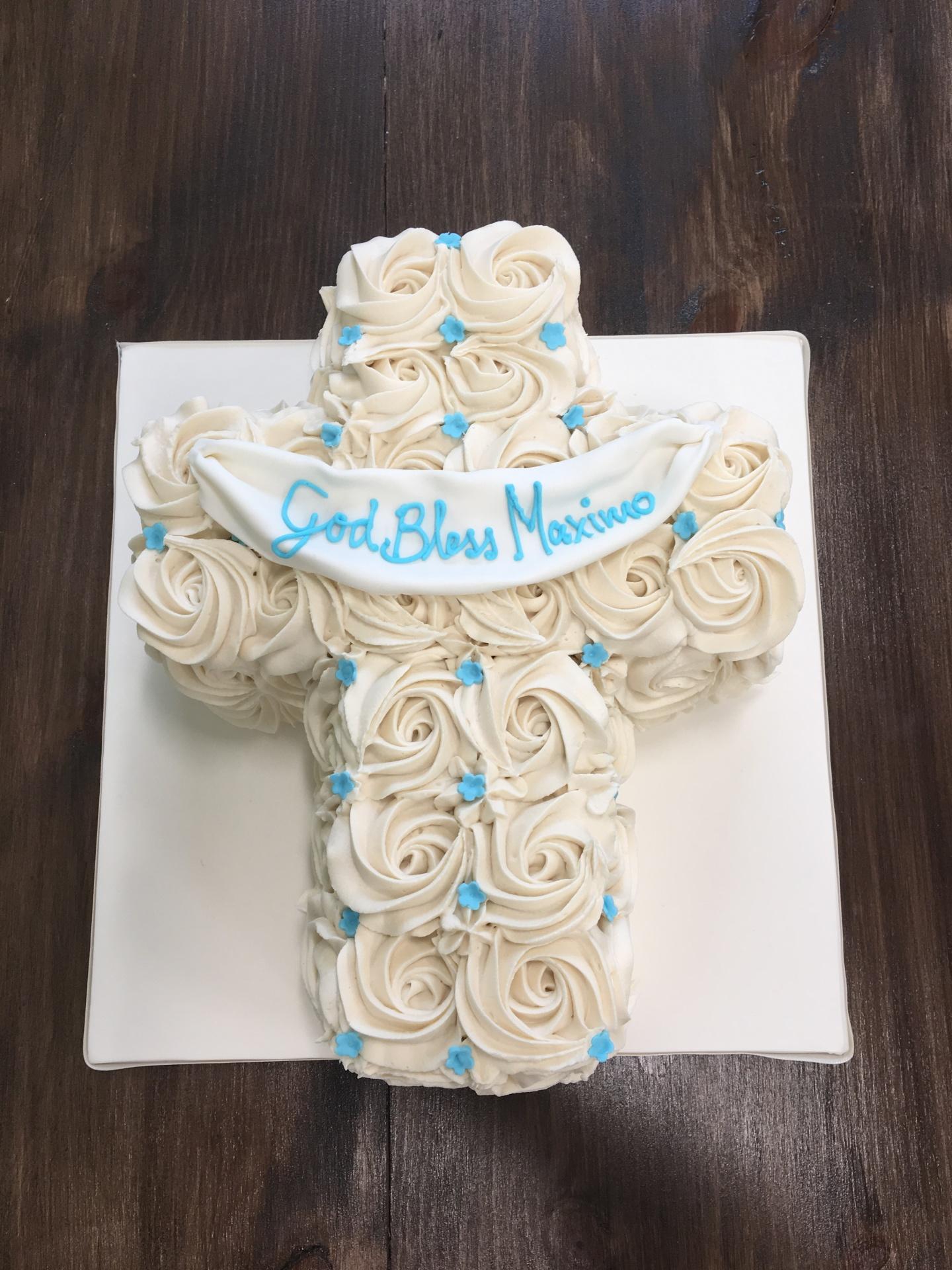 custom cakes NJ Rosette buttercream cross cake communion cake