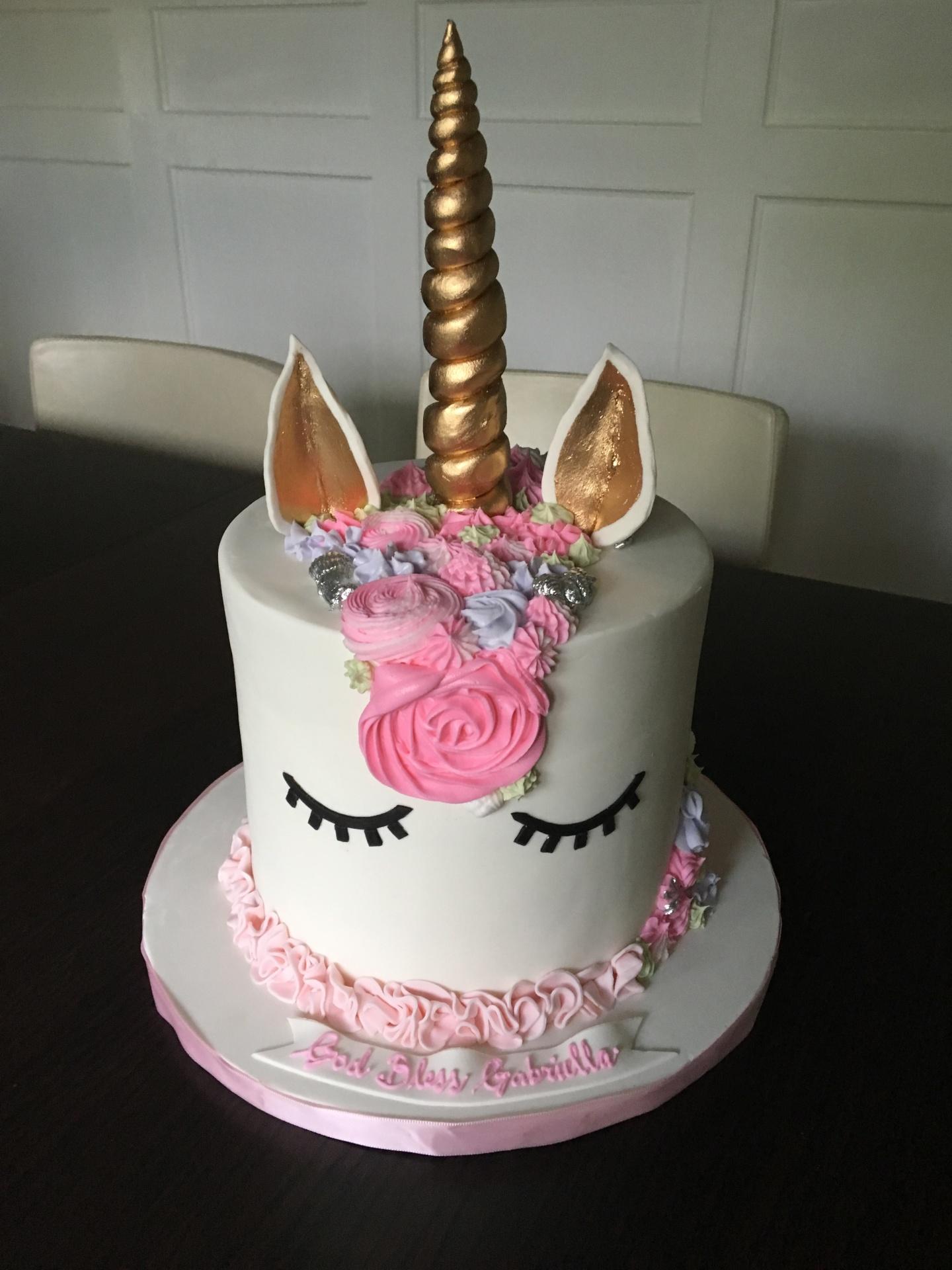 Custom Cakes NJ Unicorn Cake with black eyes