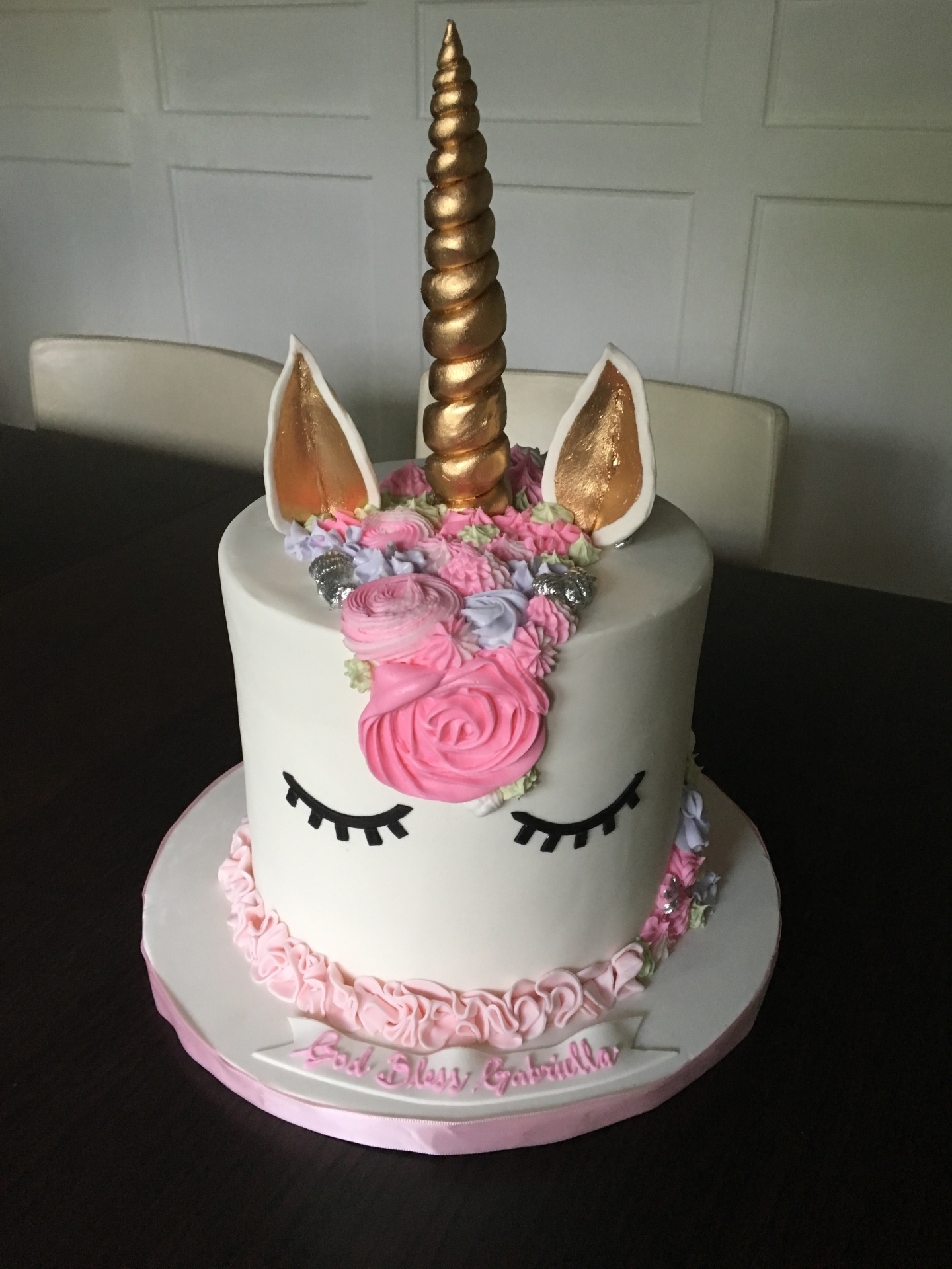 Custom Cakes NJ Unicorn Cake with black eyes